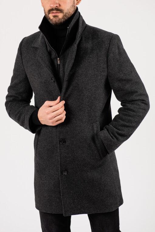 Серое пальто с отложным воротником. Арт.:1-1929-2