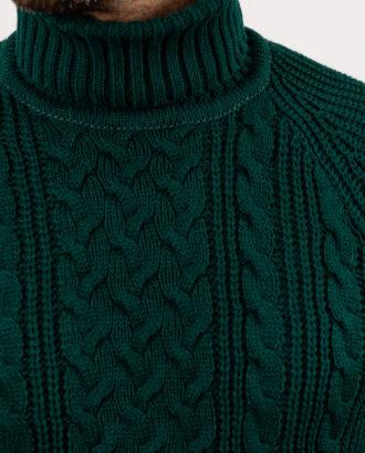 Мужская фактурная водолазка зелёного цвета. Арт.:8-1949