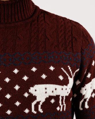 Мужской бордовый свитер с оленями.Арт.:8-1951