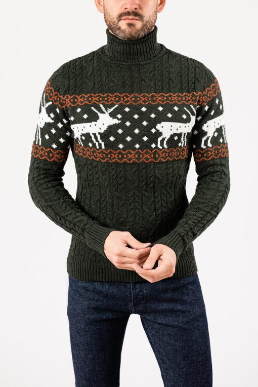 Мужской зелёный свитер с оленями.Арт.:8-1955