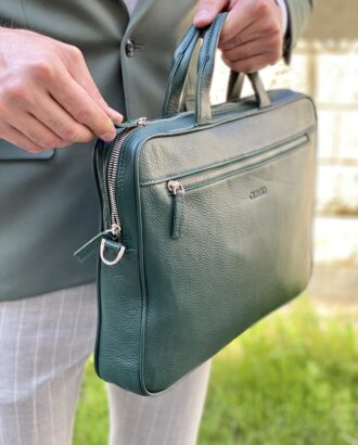 Кожаный портфель зеленого цвета. Арт.:20-003