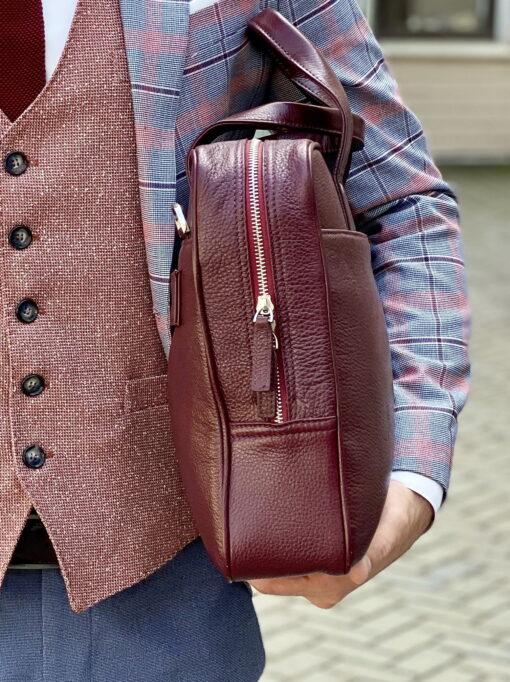 Бордовый портфель из натуральной кожи.Арт.:20-001
