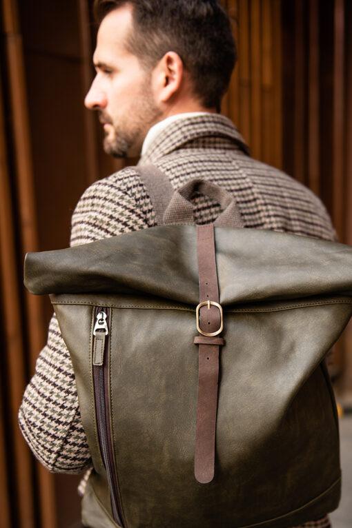 Дизайнерский рюкзак зеленого цвета. Арт.:20-008
