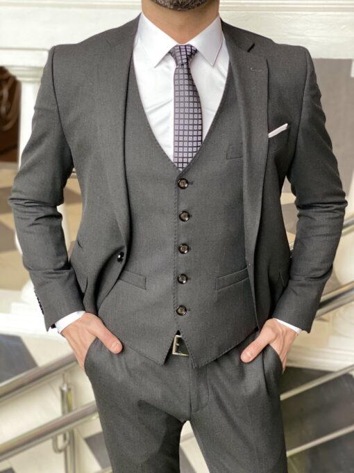 Серый мужской костюм-тройка приталенного кроя. Арт.:4-1973-3