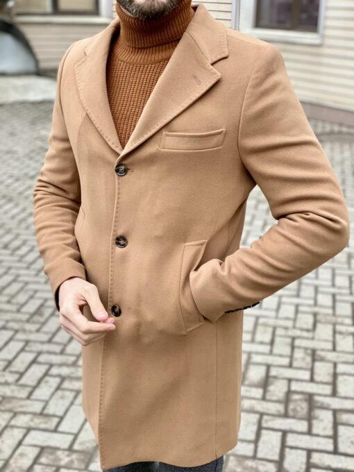 Зимнее мужское пальто бежевого цвета. Арт.:1-1963-10