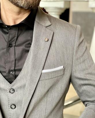 Серый мужской костюм приталенного кроя. Арт.:3-1972-3