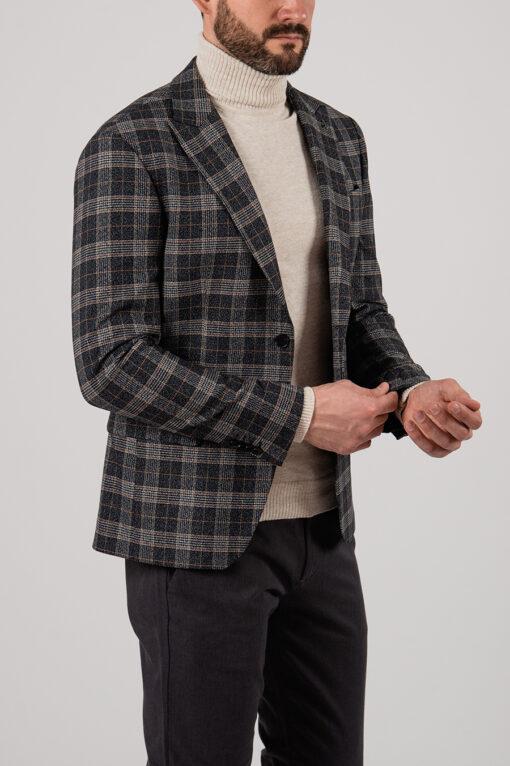 Темный мужской пиджак в клетку. Арт.:2-2142-8