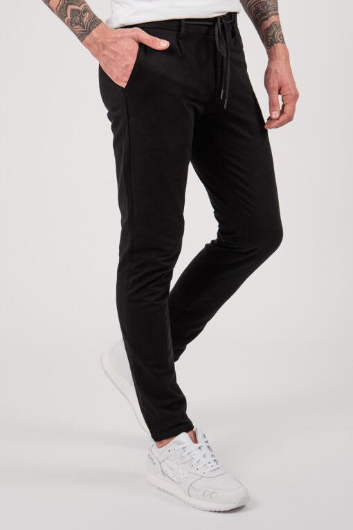 Мужские чёрные casual-брюки на шнурке. Арт.:6-2150-2