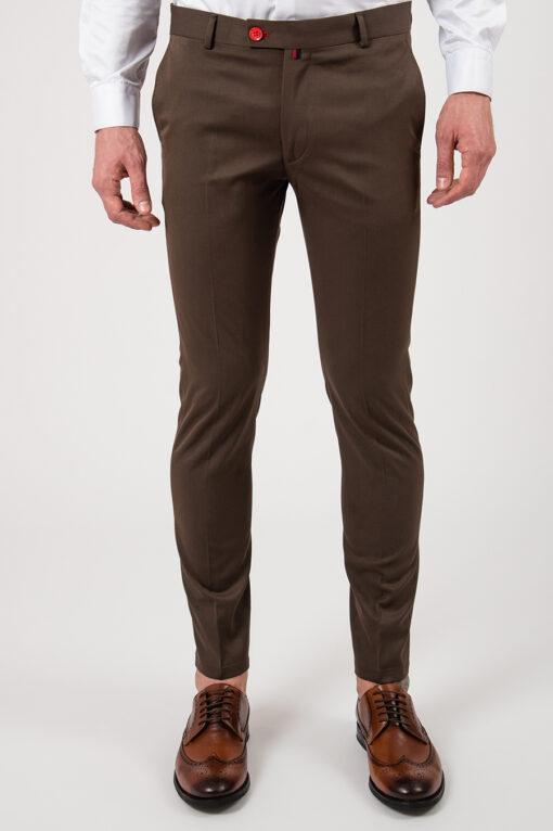 Коричневые укороченные брюки зауженного кроя. Арт.:6-2153-3