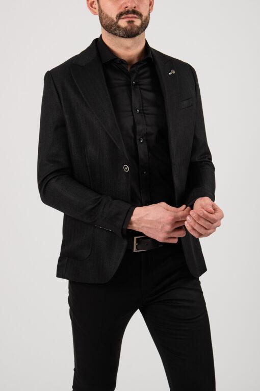 Мужской пиджак черного цвета. Арт.:2-2156-5
