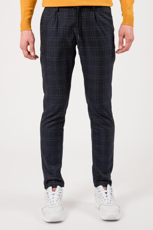 Черные мужские брюки на шнурке в крупную клетку. Арт.:6-2159-2