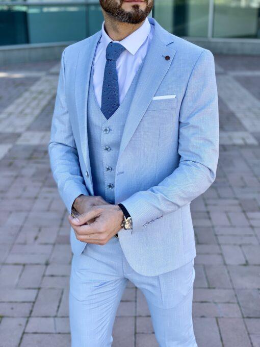 Мужской костюм-тройка небесно-голубого цвета. Арт.: 4-2256-3