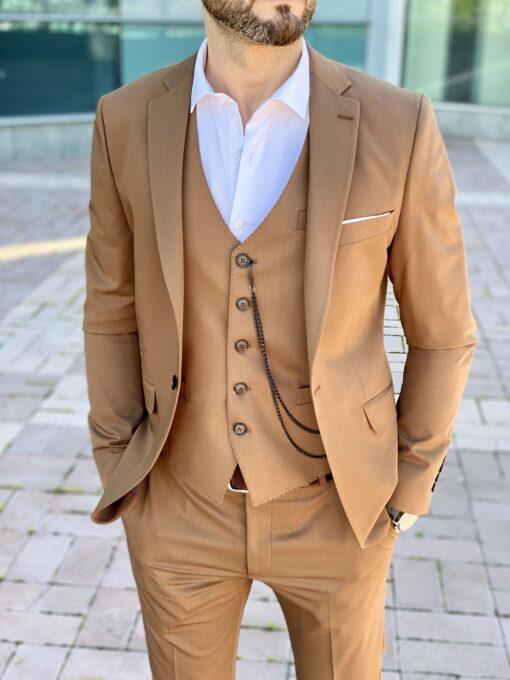 Стильный мужской костюм-тройка коричневого цвета. Арт.: 4-2258-3