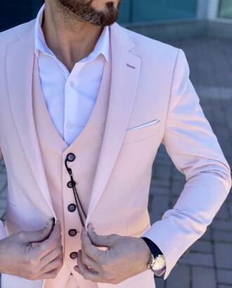 Мужской костюм-тройка розового цвета. Арт.: 4-2258-3