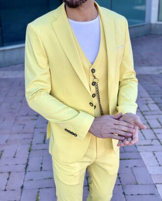 Мужской костюм-тройка желтого цвета. Арт.: 4-2259-3