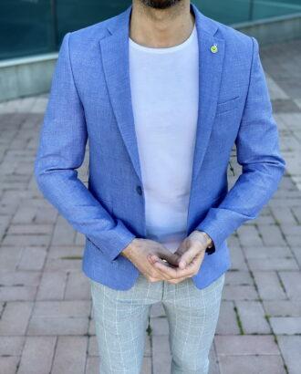 Мужской приталенный голубой пиджак. Арт.: 2-2210-5