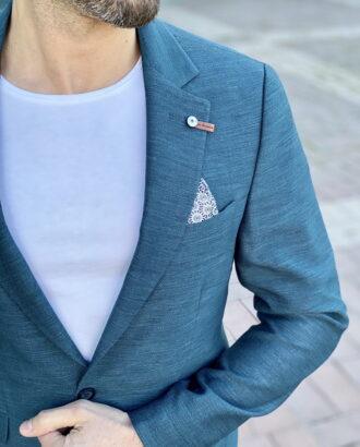 Мужской пиджак зеленого цвета slim fit. Арт.: 2-2211-1