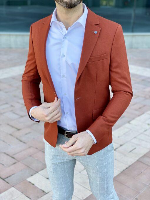 Мужской однобортный терракотовый пиджак. Арт.: 2-2221-2