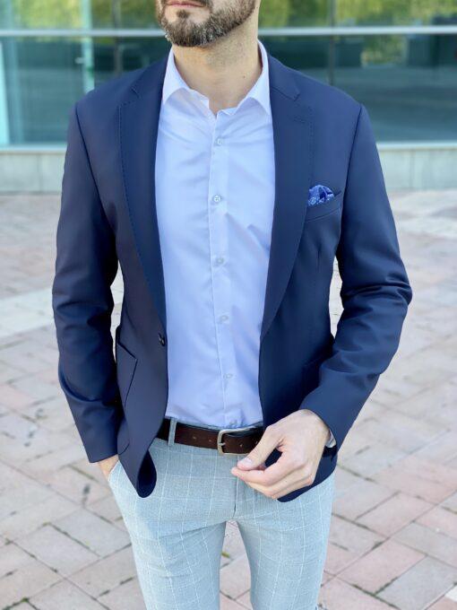 Мужской приталенный пиджак синего цвета. Арт.: 2-2222-3