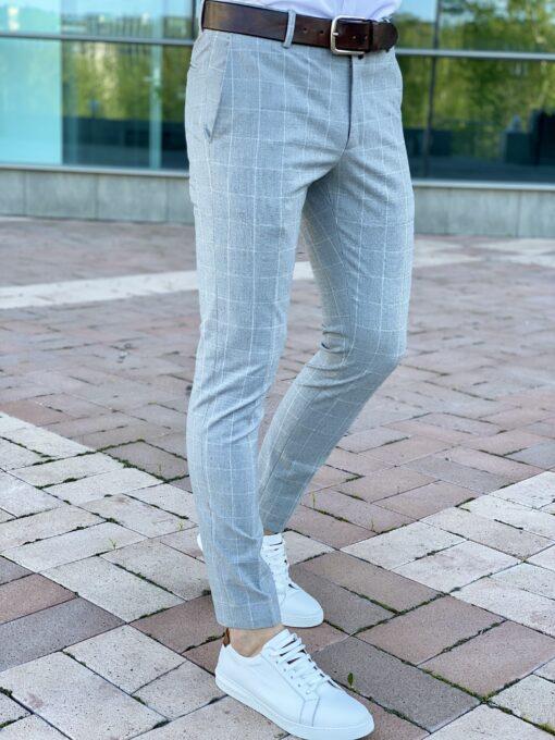 Серые мужские брюки в клетку. Арт.: 6-2213-3