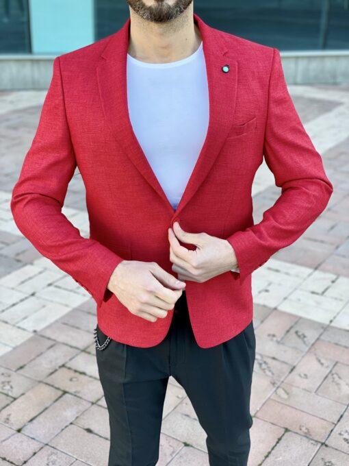 Мужской красный пиджак приталенного кроя. Арт.: 2-2212-1