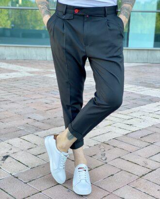 Мужские брюки с защипами чёрного цвета. Арт.: 6-2215-3