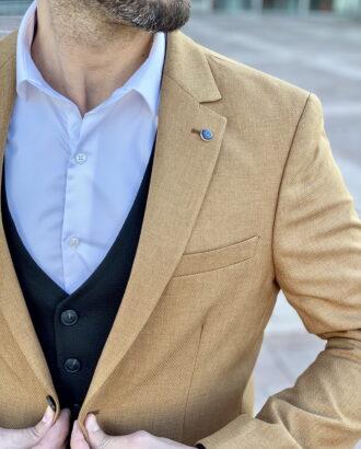 Приталенный пиджак горчичного цвета. Арт.: 2-2228-2