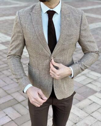 Мужской приталенный пиджак коричневого цвета. Арт.: 2-2229-5