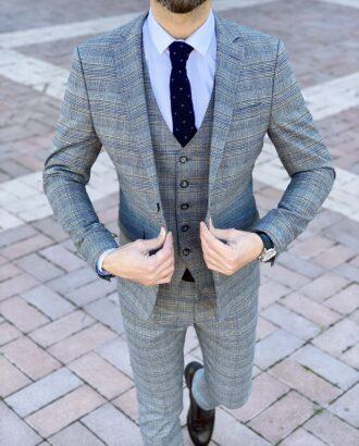 Мужской серый костюм-тройка в контрастную клетку. Арт.: 4-2253-3