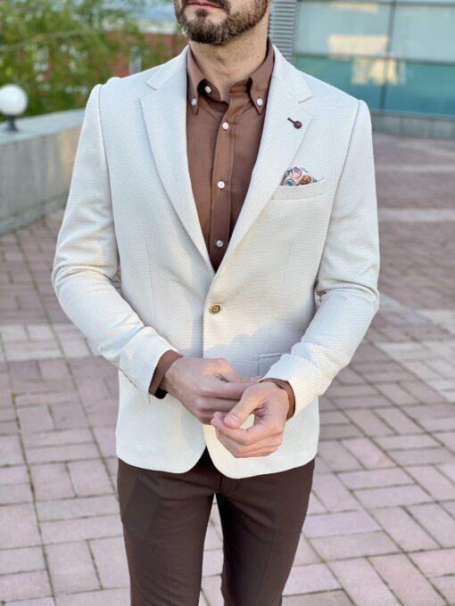 Приталенный мужской пиджак бежевого цвета. Арт.: 2-2226-1