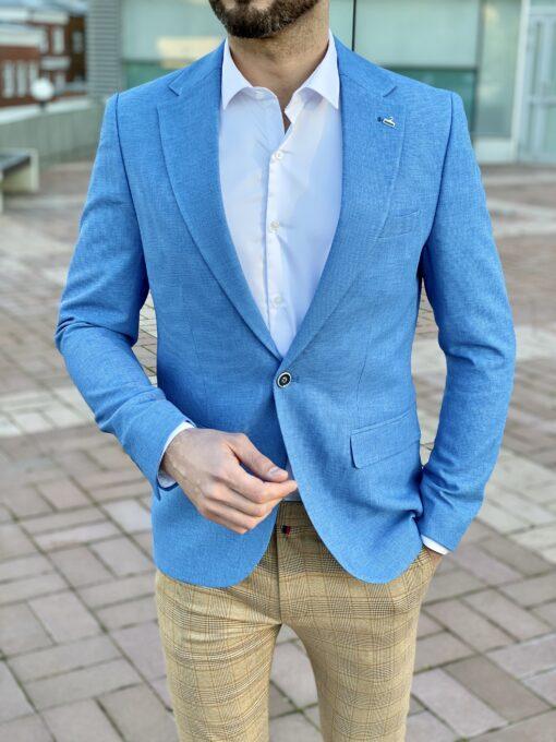 Мужской приталенный пиджак голубого цвета. Арт.: 2-2225-5