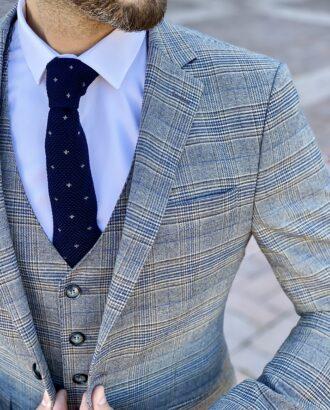 Мужской серый костюм-тройка в контрастную клетку. Арт.: 4-2252-3