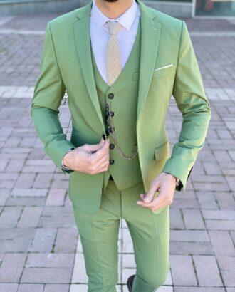 Костюм-тройка зеленого цвета. Арт.: 4-2255-3