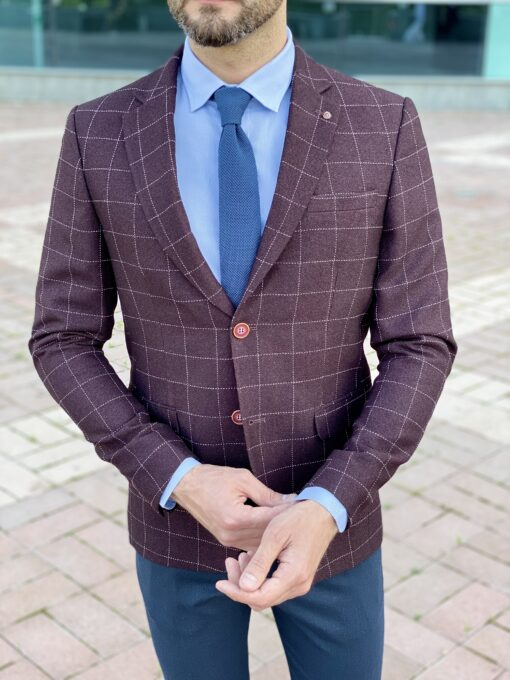 Мужской приталенный  пиджак в клетку. Арт.: 2-2227-2