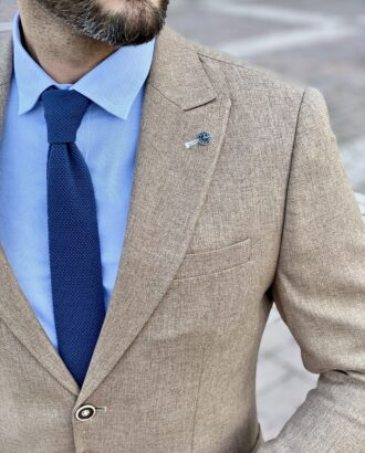 Приталенный мужской пиджак коричневого цвета. Арт.: 2-2226-5