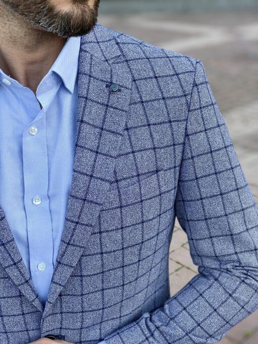 Серый мужской пиджак в синюю клетку. Арт.: 2-2225-2