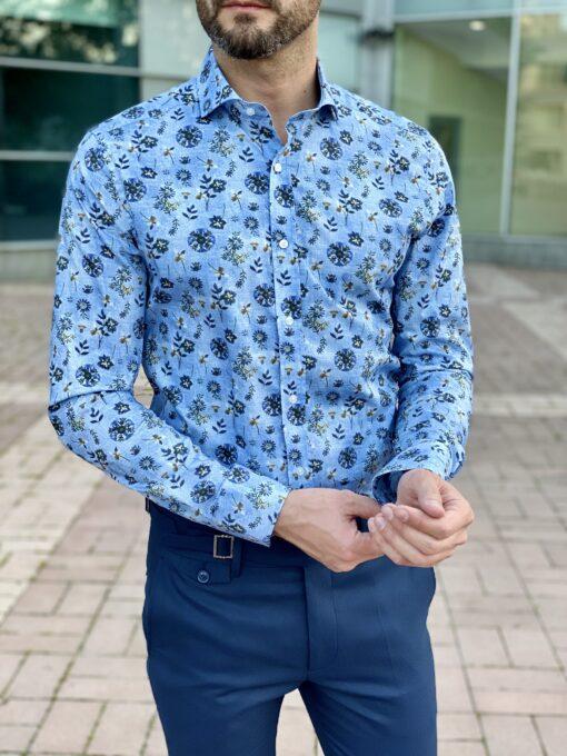 Синяя рубашка с цветным принтом. Арт.: 2-2250-3