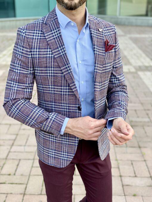 Стильный пиджак приталенного кроя, в контрастную клетку. Арт.: 2-2228-1
