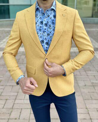 Приталенный мужской пиджак желтого цвета. Арт.: 2-2233-5