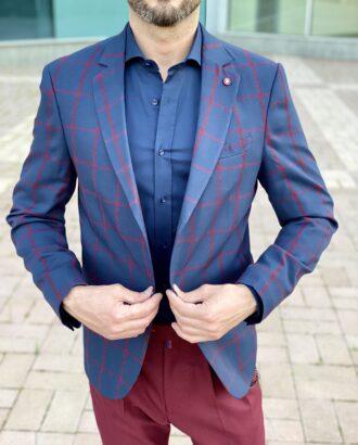 Мужской приталенный пиджак в бордовую клетку. Арт.: 2-2232-2