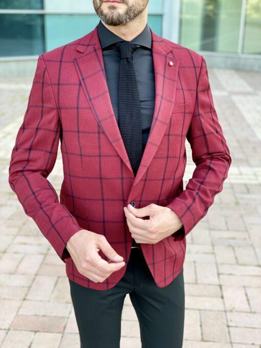 Мужской пиджак бордового цвета. Арт.: 2-2031-2