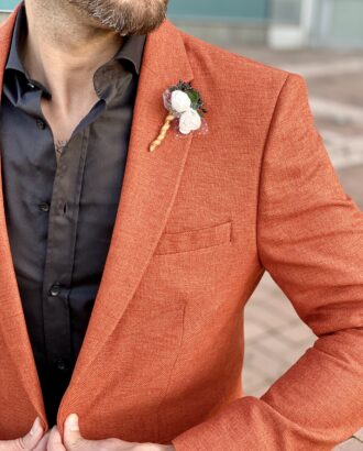 Стильный мужской пиджак терракотового цвета. Арт.: 2-2230-2