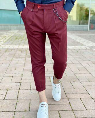 Мужские бордовые брюки с защипами. Арт.: 6-2265-3