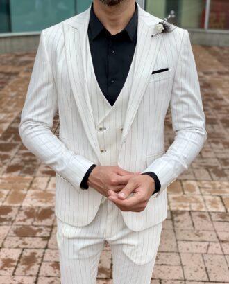 Мужской костюм-тройка белого цвета. Арт.:4-2319-3