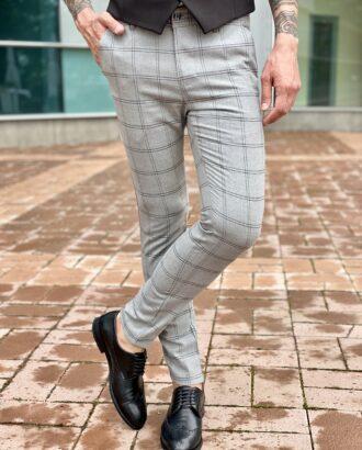Мужские брюки серого цвета в клетку гленчек. Арт.:2320