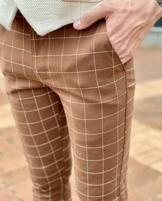 Коричневые мужские брюки в клетку. Арт.:2325