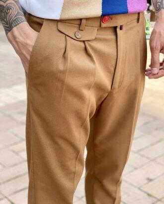 Мужские стильные брюки коричневого цвета с защипами. Арт.:2328