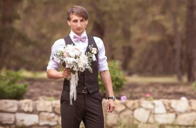 Образ жениха на свадьбу в стиле шебби-шик