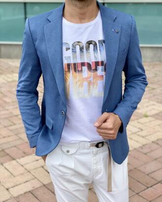 Приталенный пиджак синего цвета. Арт.:2376