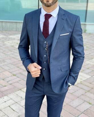 Синий мужской костюм-тройка  в итальянском стиле. Арт.:2405